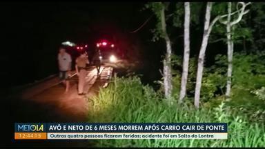 Criança de 6 meses morre após carro cair de ponte em Santo do Lontra - O avô de 40 anos também morreu nesse acidente.