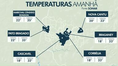 Calor e pancadas de chuva estão na previsão para esta terça-feira - Temperaturas continuam altas na região.