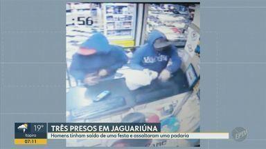 Três homens são presos após roubar uma padaria em Jaguariúna - A câmera de segurança do estabelecimento flagrou a chegada dos suspeitos e a polícia conseguiu identificar a placa do carro; foram apreendidos os itens roubados, drogas e a arma usada do crime.