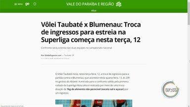 Taubaté inicia troca de ingressos para estreia na Superliga de Vôlei - Atual campeã, equipe do Vale inicia torneio contra o Blumenau.