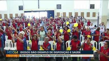 Idosos dão show de disposição e mostram a alegria de viver no Meio-Dia Paraná - Em alguns casos, eles acreditam que a melhor fase da vida é depois dos 60 anos.