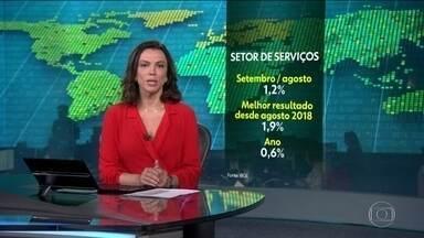 Setor de serviços registra crescimento de 1,2% em setembro - Alta foi registrada na comparação com o mês anterior. Foi o melhor resultado desde agosto de 2018. No ano, o setor acumula alta de 0,6%.