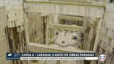 Obras da Linha 6 - Laranja estão paradas há três anos - Estado analisa a compra do consórcio responsável pela construção. Não há previsão para o fim da obra.