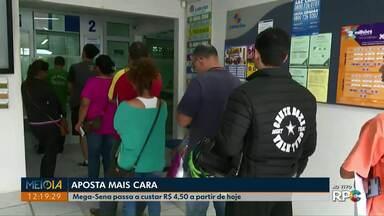 Aposta da Mega Sena fica mais cara - Valor da aposta subiu para R$ 4,50.