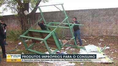 Seminfra retirada barracas de vendas das margens da rodovia Fernando Guilhon, em Santarém - Feirantes estavam comercializando alimentos mau acondicionados.