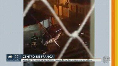 Motorista perde controle da direção e caminhonete tomba em Franca, SP - Homem sofreu ferimentos leves e foi levado à Santa Casa.