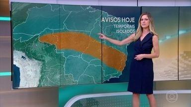 Previsão de chuva forte em parte do Sudeste e do Centro-Oeste - No Espírito Santo e no centro-norte de Minas o risco é de temporal. No Rio pode chover à tarde. Tem previsão de pancadas isoladas no Norte. Tempo firme em quase todo o Nordeste e em todo o Sul. Em São Paulo a tarde vai ser de sol entre nuvens.