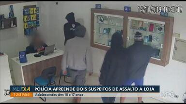 Polícia apreende dois adolescentes suspeitos de assalto a loja, em Carambeí - Ação foi registrada por câmeras de segurança.