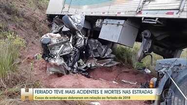 Feriado teve aumento de 13% no número de acidentes em estradas - Segundo a Polícia Rodoviária Federal, o número de mortes subiu 14%. Número de feridos também cresceu 14%.