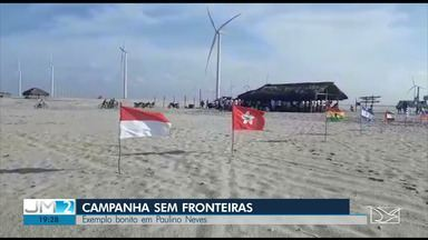 Mutirão retira lixo internacional das praias de Paulino Neves, nos Lençóis Maranhenses - Ambientalistas, alunos de escolas públicas e voluntários se uniram em prol do meio ambiente.