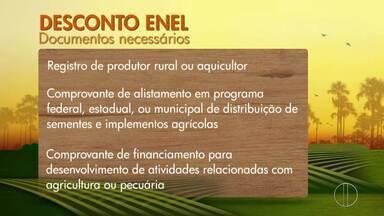 Produtor rural tem até o dia 31 de dezembro para se cadastrar e conseguir desconto na Enel - O cadastro garante a tarifa rural, com abatimento na energia elétrica desde que seja comprovada a atividade rural, o desconto pode chegar a 60%.