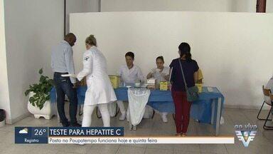 Munícipes realizam testes gratuitos para detectar hepatite C em Santos - Posto foi montado no Poupatempo e funciona até quinta-feira (21).