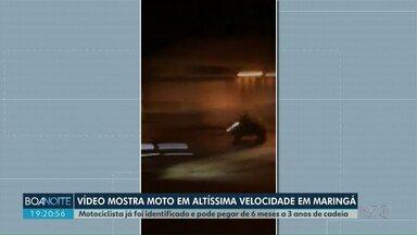 Vídeo mostra motociclista em altíssima velocidade pelas ruas de Maringá - Motociclista já foi identificado e pode pegar de 6 meses a 3 anos de cadeia.