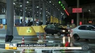 Prefeitura do Rio entra na Justiça contra Lamsa mais uma vez - Dessa vez a ação é para que a concessionária que administra a Linha Amarela comece a fazer o ressarcimento da cobrança excessiva de pedágio.