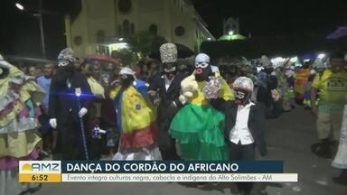Conheça a tradicional dança do cordão africano de São Paulo de Olivença, no AM - Evento integra cultura negra, cabocla e indígena do Alto Solimões.