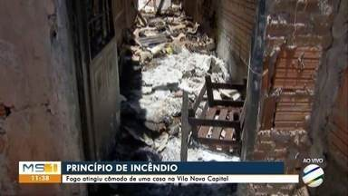 Fogo atingiu cômodo de uma casa na vila Nova Capital - Fogo atingiu cômodo de uma casa na vila Nova Capital