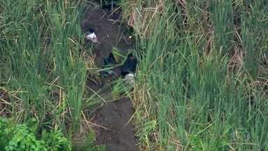 Bandidos se escondem na lama para fugir da polícia em uma operação no Rio - O Globocop flagrou oito homens correndo dos PMs. Pelo menos dois estavam armados. Eles se dividiram pelas ruas da comunidade da Cidade de Deus.