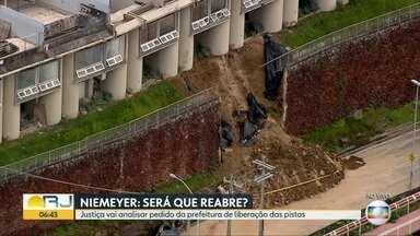 Justiça marca audiência sobre pedido de reabertura da Av. Niemeyer - Parte de muro do motel Vip's desabou na avenida.