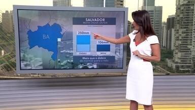 Veja a previsão do tempo para esta quarta-feira (27) em todo o país - Temporais continuam em Salvador; na terça-feira (26), a capital baiana registrou 250 milímetros de chuva. Frente fria avança por São Paulo e a partir desta quarta (27) à tarde tem risco de chuva forte em todo o estado. Cuidado com alagamentos.