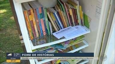 Escola cria biblioteca comunitária em geladeira para compartilhar livros em Pouso Alegre - Escola cria biblioteca comunitária em geladeira para compartilhar livros em Pouso Alegre