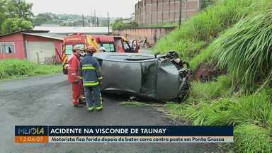 Homem fica ferido depois de bater contra poste em Ponta Grossa - Acidente foi na manhã desta quarta-feira (27) na região do bairro Ronda.