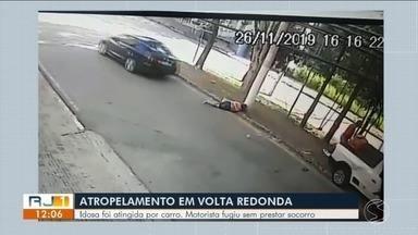 Idosa fica ferida ao ser atropelada por carro em Volta Redonda - Acidente aconteceu na Rua Almirante Barroso, no bairro Jardim Amália. Motorista fugiu sem prestar socorro, diz Polícia Civil.