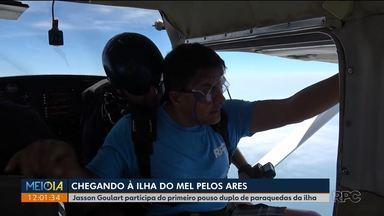Jasson Goulart mostra os preparativos do salto duplo de paraquedas na Ilha do Mel - Este foi o primeiro pouso na ilha.