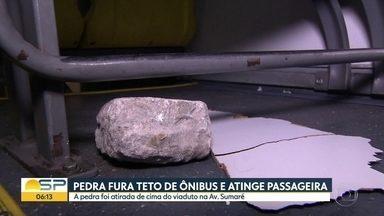 Passageira de ônibus é atingida por pedrada na Zona Oeste de São Paulo - Caso aconteceu nesta quarta-feira (27) no Viaduto Doutor Arnaldo, no Sumaré