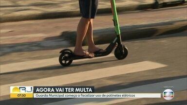 Guarda Municipal poderá multar usuários de patinetes elétricos - Guardas vão aplicar multas que variam de R$ 100 a R$ 200 para quem descumprir as regras para a condução dos patinetes.