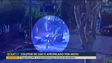 Câmeras de segurança flagram atropelamento de coletor de lixo - Motociclista fugiu sem prestar socorro e ainda não foi identificado.