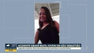 Jovem de 13 anos morre em acidente no litoral - Ela e mais 40 adolescentes estavam a caminho de um torneio de Rugby em Ilhabela