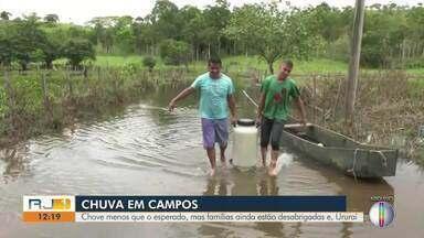 Chove menos que o esperado, mas famílias ainda estão desabrigadas em Ururaí, RJ - A previsão de chuva para o fim de semana eram 30 milímetros.
