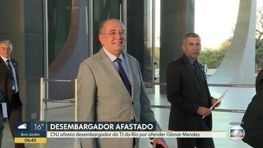 CNJ afasta desembargador do TJ do Rio por ofender o ministro do STF Gilmar Mendes - Desembargador enviou áudio criticando decisão do ministro de soltar o ex-governador Anthony Garotinho em 2017.