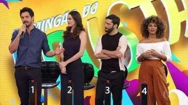 Sheron Menezzes, Armando Babaioff, Mariana Molina e Romulo Estrela estão no 'Domingão' - Elenco de 'Bom Sucesso' participa do 'Ding Dong'