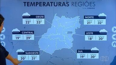 Confira a previsão do tempo para esta segunda-feira em Goiás - Tempo nublado na maior parte do estado, com possibilidade de chuva.