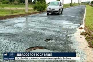 Temporada de chuvas aumenta incidência de buracos nas ruas de Uberaba - Em alguns casos, são verdadeiras crateras que, além de causar prejuízos, também colocam a segurança das pessoas em risco. Prefeitura falou sobre a operação tapa buracos.