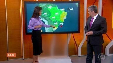 Previsão é de tempo firme no RS nesta quarta-feira - A chuva forte se concentra no Rio de Janeiro, São Paulo, centro-sul de Minas Gerais e de Goiás, Distrito Federal, Mato Grosso e todo o estado de Mato Grosso do Sul.
