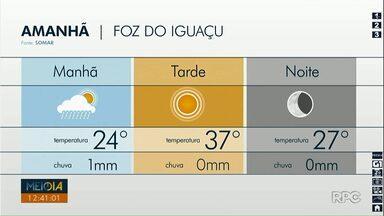 Confira a previsão do tempo para as cidades do oeste e do sudoeste - Em Foz do Iguaçu a máxima será de 37 graus nesta quinta-feira.