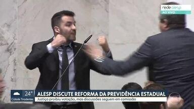 Alesp discute reforma da previdência estadual - Justiça proibiu votação, mas discussões seguem em comissão.