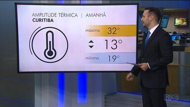 Quinta-feira tem previsão de 32 graus em Curitiba e 29 graus em Matinhos - Os dados no mapa.