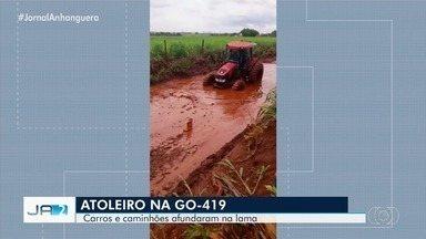 Carros e caminhões ficam atolados na GO-419 entre Itumbiara e Buriti Alegre - Os veículos afundaram na lama.