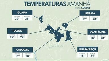 Previsão de pancadas de chuva isoladas para esta quinta-feira - A tarde deve ser abafada com máxima de 28 graus em Cascavel.