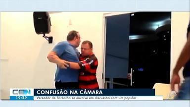 Briga entre vereador e homem que assistia à sessão causa confusão na Câmara de Barbalha - Confira mais notícias em g1.globo.com/ce