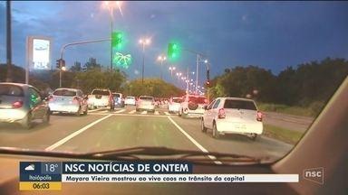 Quinta-feira (12) registrou caos no trânsito em Florianópolis - Quinta-feira (12) registrou caos no trânsito em Florianópolis