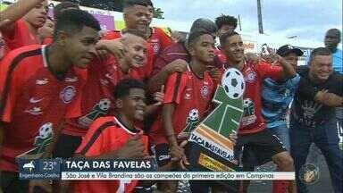 São José e Vila Brandina são os campeões da 1ª Taça das Favelas em Campinas - Finais aconteceram neste sábado (14), no Moisés Lucarelli. Jogos tiveram pênalti, narração feminina, pedido de VAR e mais.