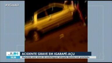 Homem alcoolizado atropela romeiros durante procissão em Igarapé-Açú, no PA - Homem alcoolizado atropela romeiros durante procissão em Igarapé-Açú, no PA
