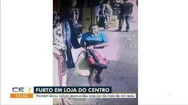 Suspeito furta saco com cerca de 30 calças jeans - Saiba mais no g1.com.br/ce