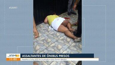 Polícia prende suspeitos de assaltar ônibus em Manaus - Duas pessoas foram detidas após assalto a linha 650.