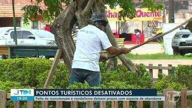 Falta de manutenção e vandalismo deixam praças de Santarém com aspecto de abandono - No bairro aldeia, moradores se juntaram para tentar manter a limpeza do local.