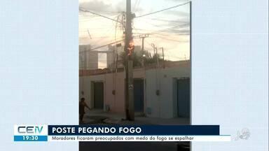 Fogo destrói fiação de poste e assusta moradores em Juazeiro do Norte - Confira mais notícias em g1.globo.com/ce